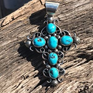 Chimney Butte Sterling Turquoise Cross Pendant
